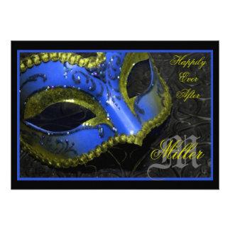 Invitación azul del boda del renacimiento de la ma
