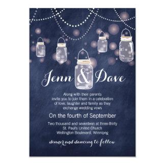 Invitación azul del boda del tarro de albañil de