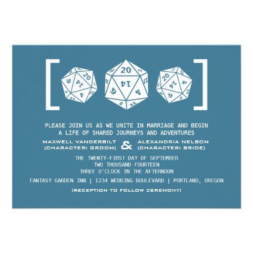 Invitación azul del boda del videojugador de los d