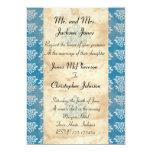 Invitación azul del boda del vintage