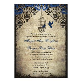 Invitación azul del boda del vintage del Birdcage