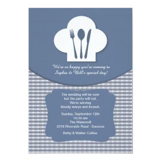 Invitación (azul) del brunch del boda del poste