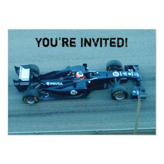 Invitación azul del coche de competición