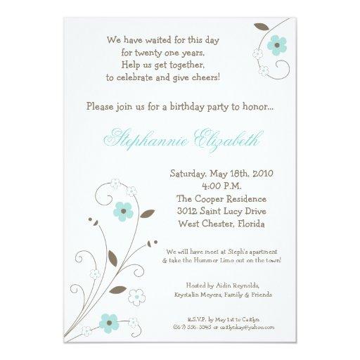 invitación azul del cumpleaños de la flor del