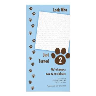 Invitación azul del cumpleaños de la impresión de tarjetas fotográficas personalizadas