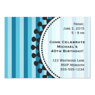 Invitación azul del cumpleaños de los toldos