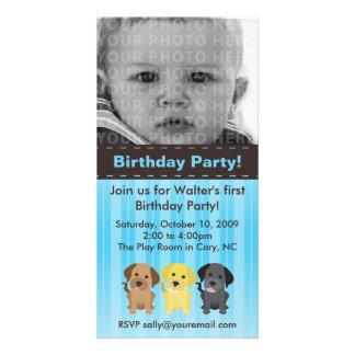 Invitación azul del cumpleaños de Thee Labradors Tarjetas Fotograficas