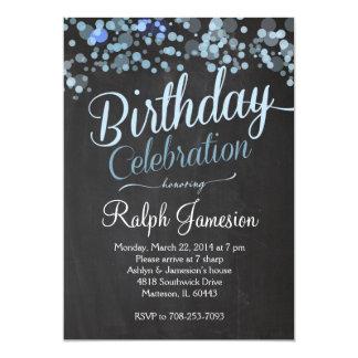 Invitación azul del cumpleaños del brillo de la