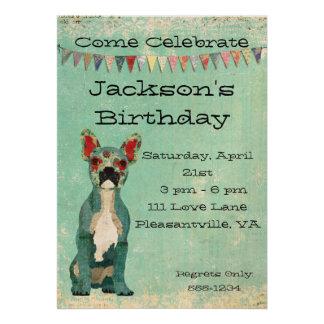 Invitación azul del cumpleaños del dogo francés