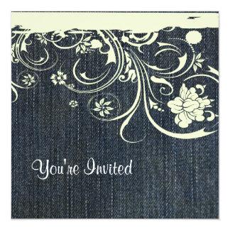 Invitación azul del cumpleaños del dril de algodón invitación 13,3 cm x 13,3cm
