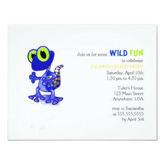 Invitación azul del cumpleaños del Gecko