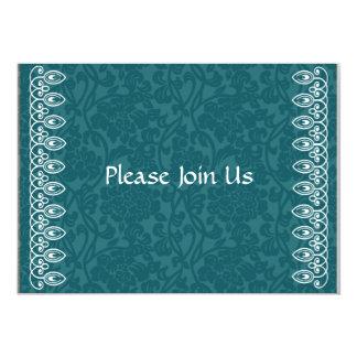 Invitación azul del damasco del trullo