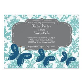 Invitación azul del damasco y de la mariposa