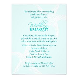 Invitación azul del desayuno del boda de las estre