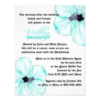 Invitación azul del desayuno del boda del hibisco