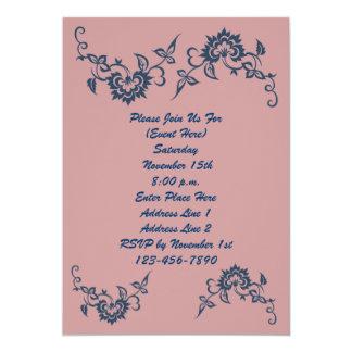 Invitación azul del diseño floral del ciruelo