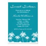 Invitación azul del dulce 16 del trullo tropical