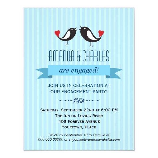 Invitación azul del fiesta de compromiso de los invitación 10,8 x 13,9 cm