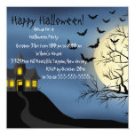 Invitación azul del fiesta de Halloween de la casa
