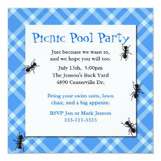 Invitación azul del fiesta de la tela escocesa de