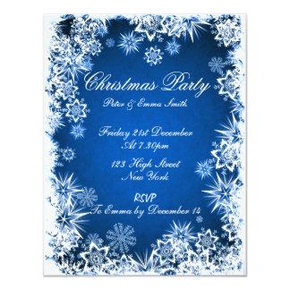 Invitación azul del fiesta de los copos de nieve