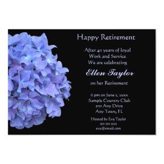 Invitación azul del fiesta de retiro del Hydrangea