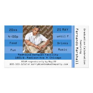 Invitación azul del fiesta del boleto de la tarjetas fotograficas personalizadas