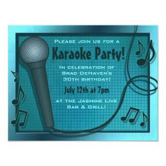 Invitación azul del fiesta del Karaoke del Invitación 10,8 X 13,9 Cm
