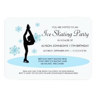 Invitación azul del fiesta del patinaje de hielo