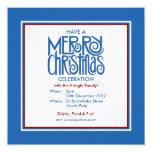 Invitación azul del fiesta del tema de las Felices