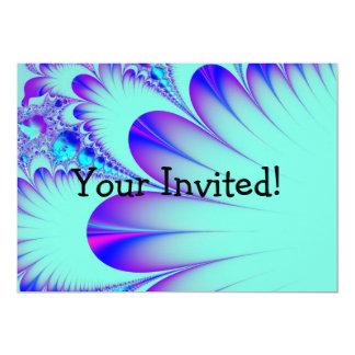 Invitación azul del fractal de la pluma