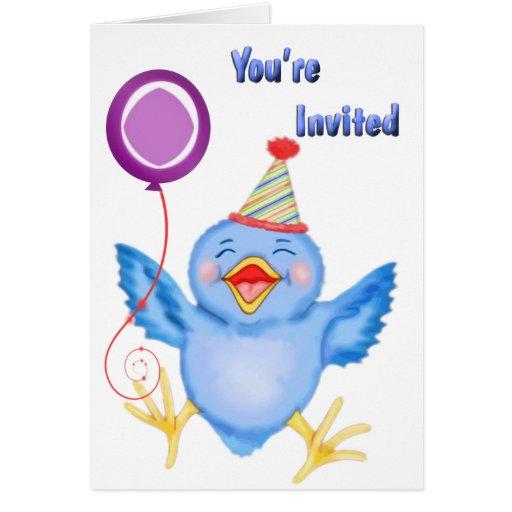 Invitación azul del globo del chirrido tarjeta de felicitación