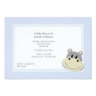 Invitación azul del hipopótamo invitación 12,7 x 17,8 cm
