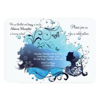 Invitación azul del horizonte invitación 12,7 x 17,8 cm