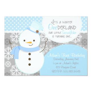 Invitación azul del muñeco de nieve de ONEderland