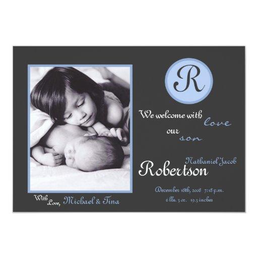 invitación azul del nacimiento de la foto de la