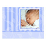 Invitación azul del nacimiento de la foto del postal