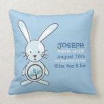 Invitación azul del nacimiento del conejito almohadas