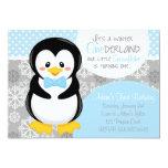 Invitación azul del pingüino de ONEderland del