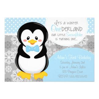 Invitación azul del pingüino de ONEderland del inv
