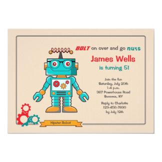 Invitación azul del robot invitación 12,7 x 17,8 cm