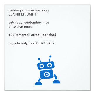 Invitación azul del robot del bebé invitación 13,3 cm x 13,3cm