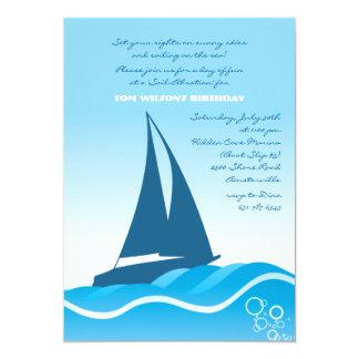Invitación azul del velero invitación 12,7 x 17,8 cm