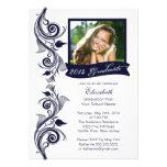 Invitación azul elegante de la fiesta de graduació