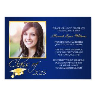 Invitación azul elegante de la graduación de la invitación 11,4 x 15,8 cm