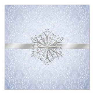 Invitación azul elegante del boda de la nieve del invitación 13,3 cm x 13,3cm