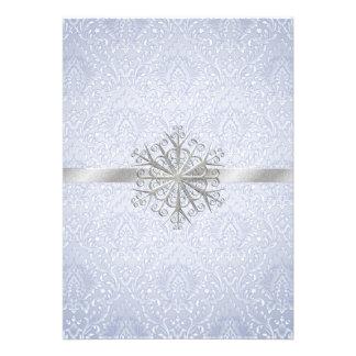 Invitación azul elegante del boda del copo de niev