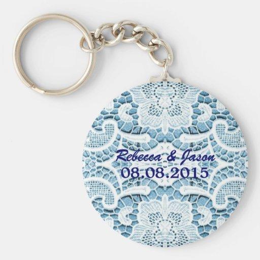 invitación azul elegante del boda del cordón llaveros personalizados