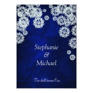 Invitación azul elegante del boda del invierno del