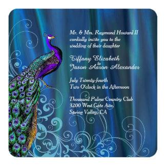 Invitación azul elegante del boda del satén y del